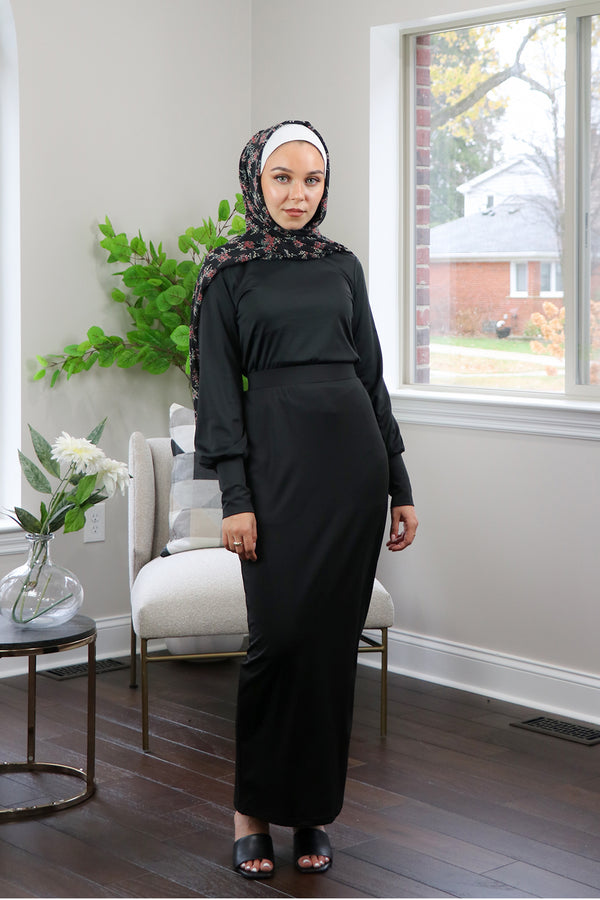 Silky Spandex Long Sleeve Top- Black