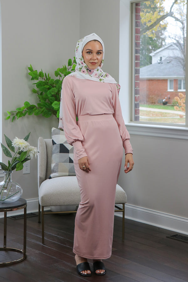 Silky Spandex Long Sleeve Top- Light Pink
