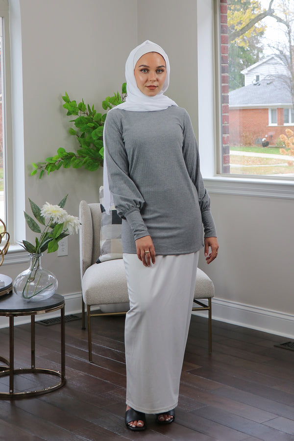 Ribbed Long Sleeve Top- Heather Gray