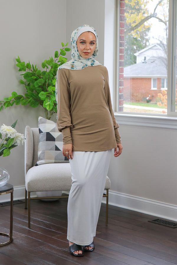 Ribbed Long Sleeve Top- Tan