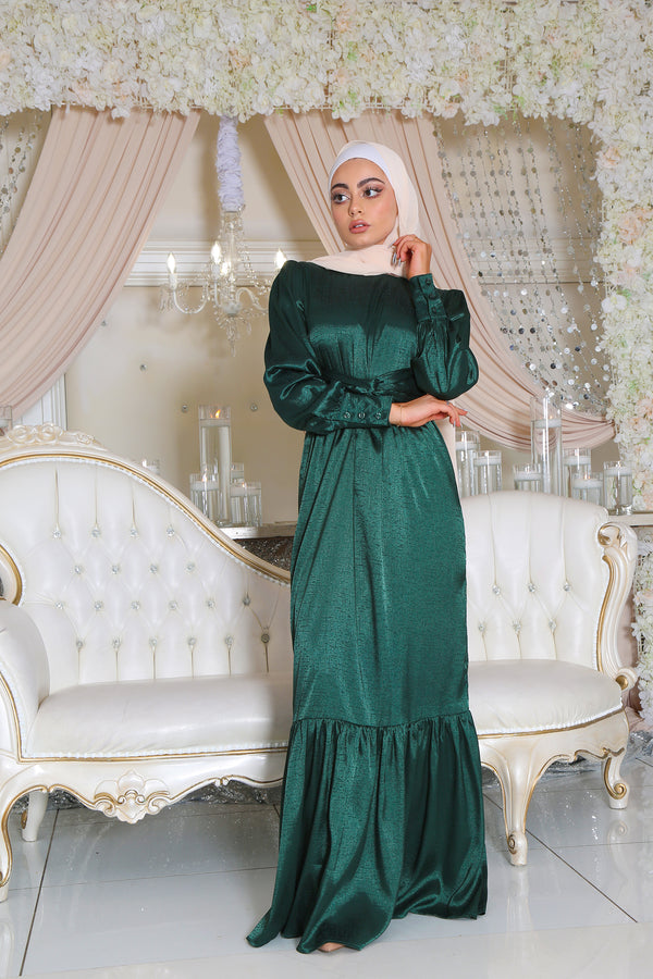 Jasmine Satin Wrap Dress- Emerald