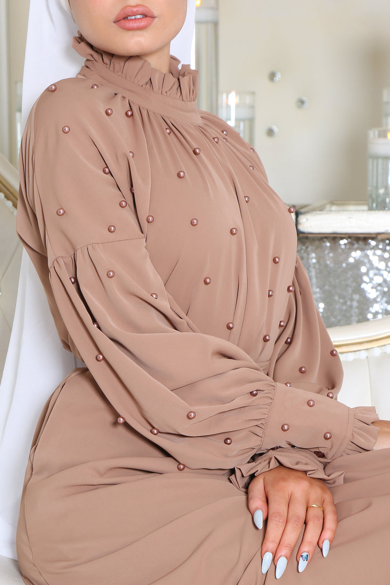 Deluxe Soft Pearl Dress- Camel