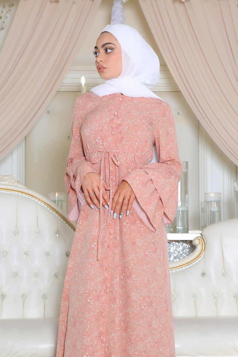 Double-Bell Button Dress- Pink