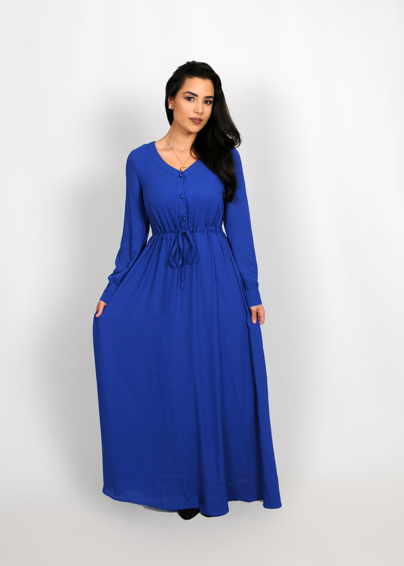 Royal Blue Chiffon Button Maxi Dress (8305473795)