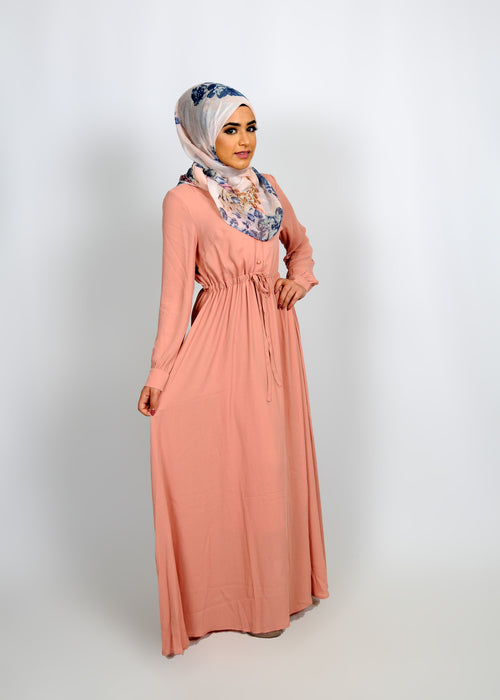 Salmon Chiffon Button Maxi Dress (8305633987)