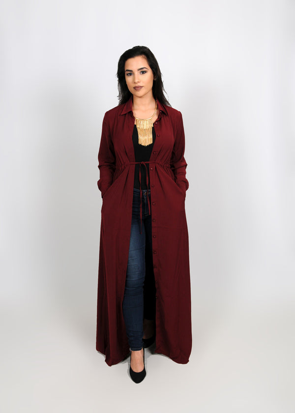 Wine Red Buttoned-Down Maxi Dress (8307551299)