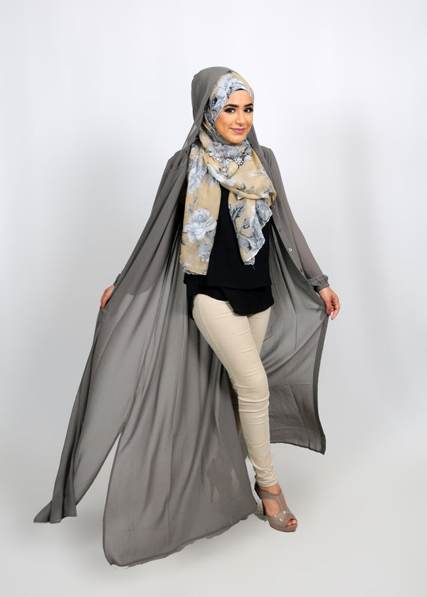 Smoke Grey Chiffon Abaya Buttoned-Down Cardigan Dress (8306514179)