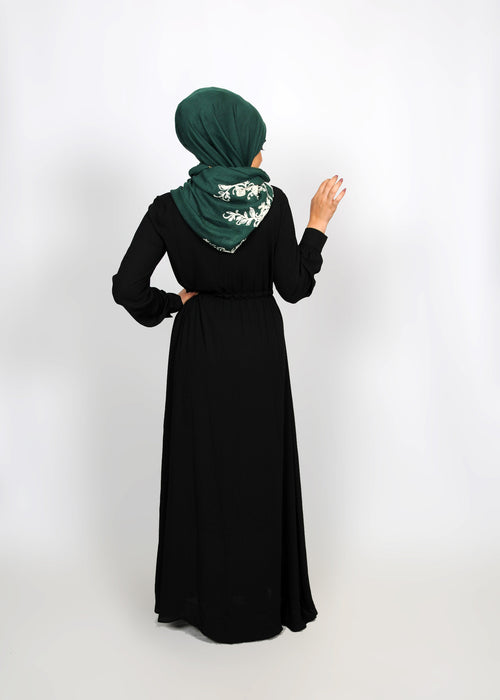 Black Chiffon Button Maxi Dress