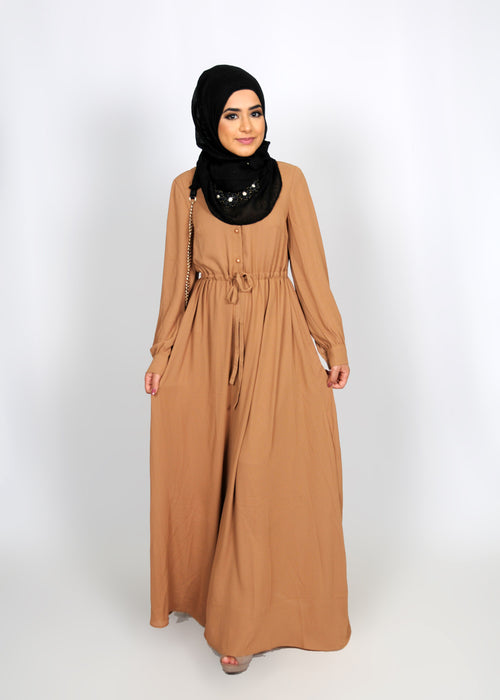 Tortilla Brown Chiffon Button Maxi Dress (8305748291)
