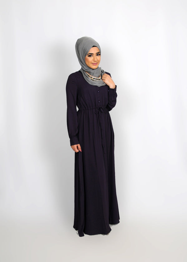 Dark Purple Chiffon Button Maxi Dress (8305550531)
