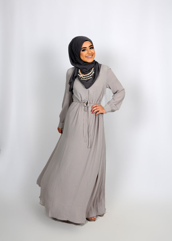 Silver Chiffon Button Maxi Dress (8305574531)