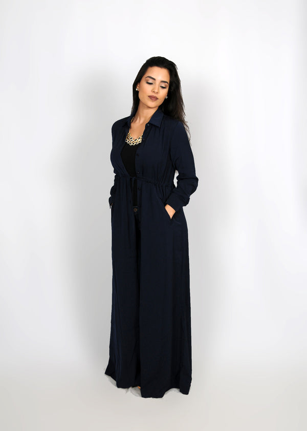 Navy Blue Buttoned-Down Maxi Dress (8307476803)