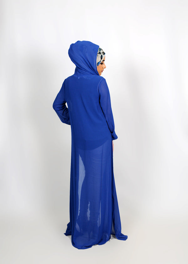 Royal Blue Chiffon Abaya Buttoned-Down Cardigan Dress (8307214403)