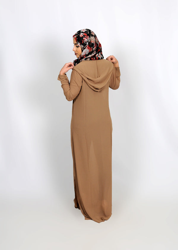Tan Abaya Buttoned-Down Cardigan Dress (8307308291)