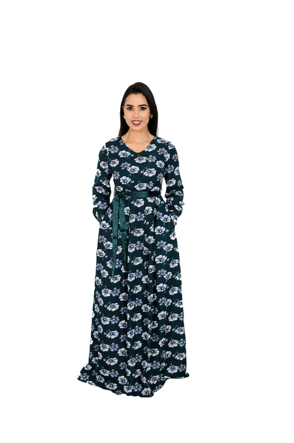 Hunter Green Floral Folds Maxi Dress (10784165518)