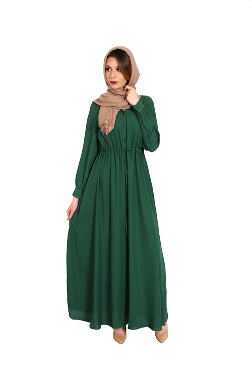 Hunter Green Chiffon Button Maxi Dress (10757851150)