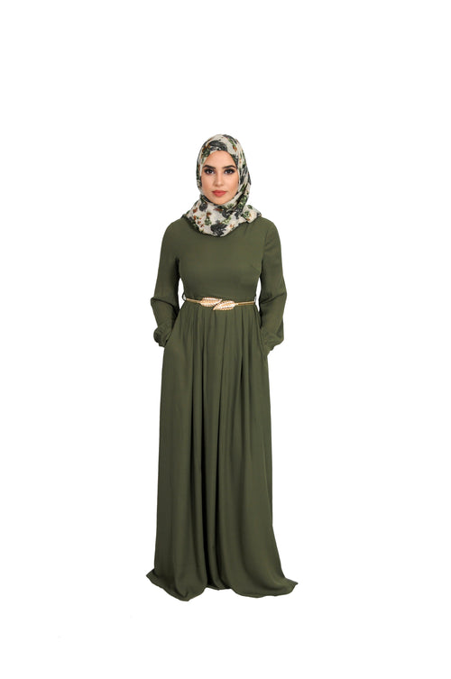 Vine Green Chiffon Folds Maxi Dress (10758174542)