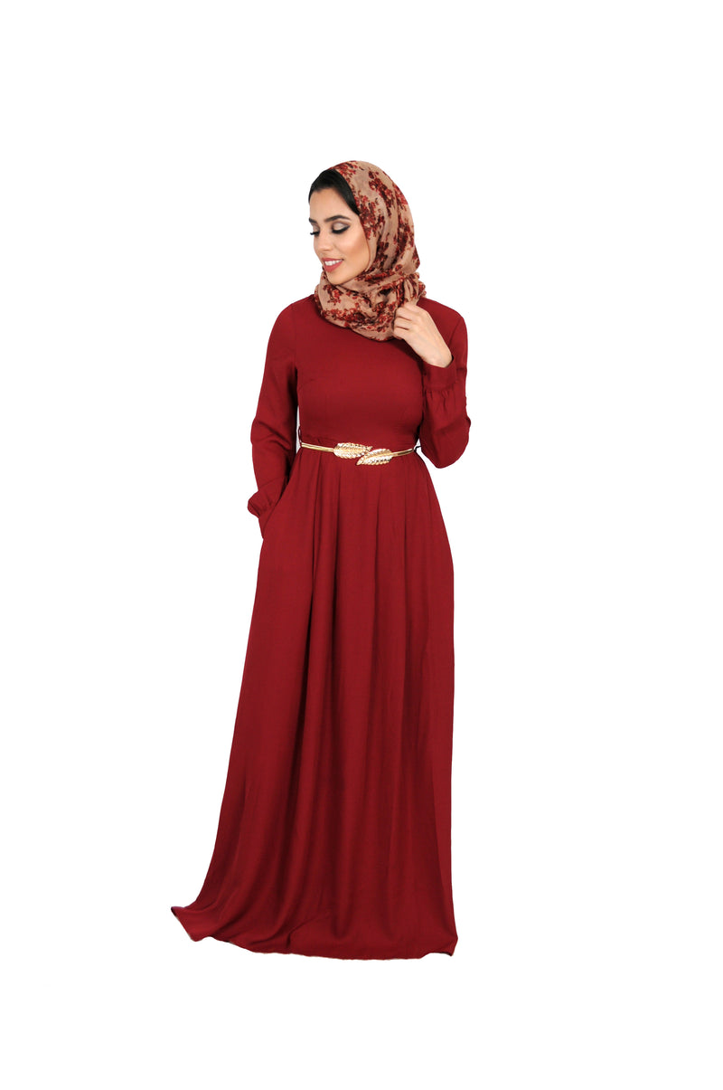 Maroon Chiffon Folds Maxi Dress (10758199566)
