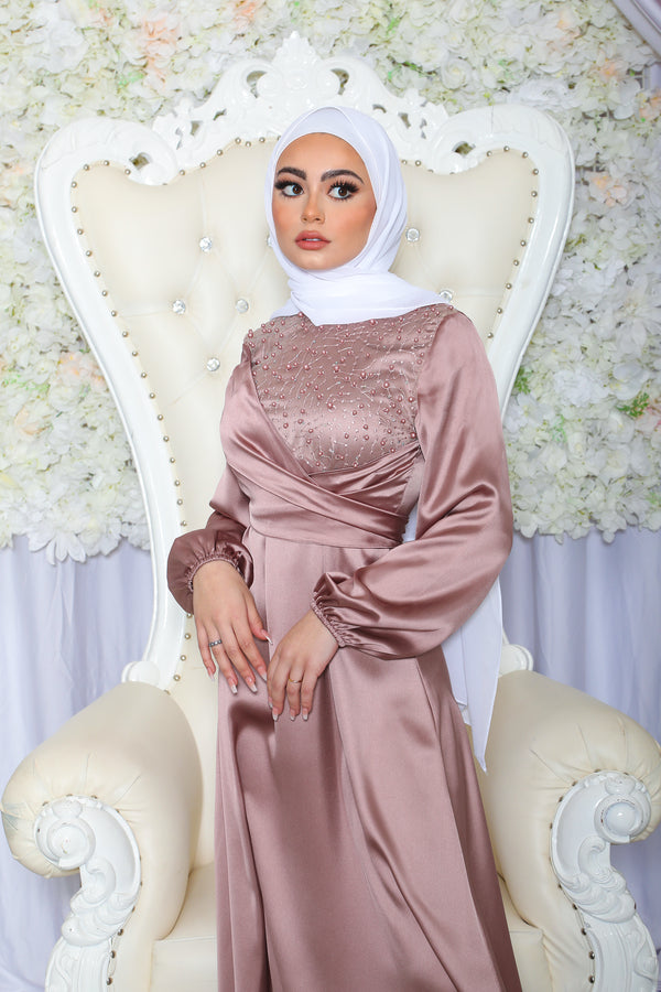 Amara VIP Luxury Pearl Satin Dress- Dusty Rose