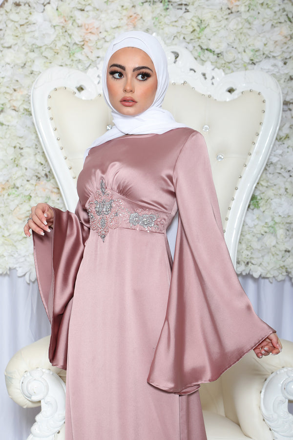 Celestia VIP Luxury Lace Satin Dress- Dusty Rose