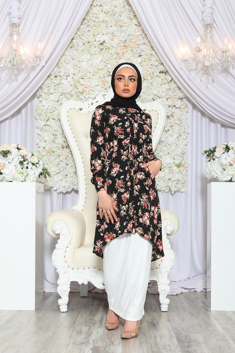 Floral Buttoned-Down Tunic- Black/Maroon