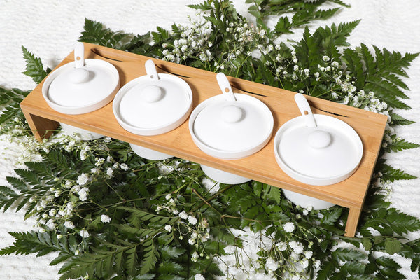 Wooden Serving Compartment- White