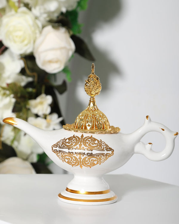Luxury Bakhoor Burner- White/Gold