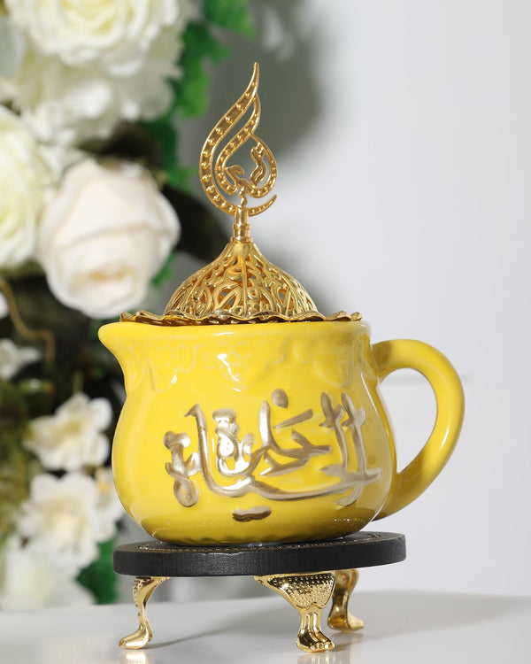 Luxury Bakhoor Burner- Yellow/Gold