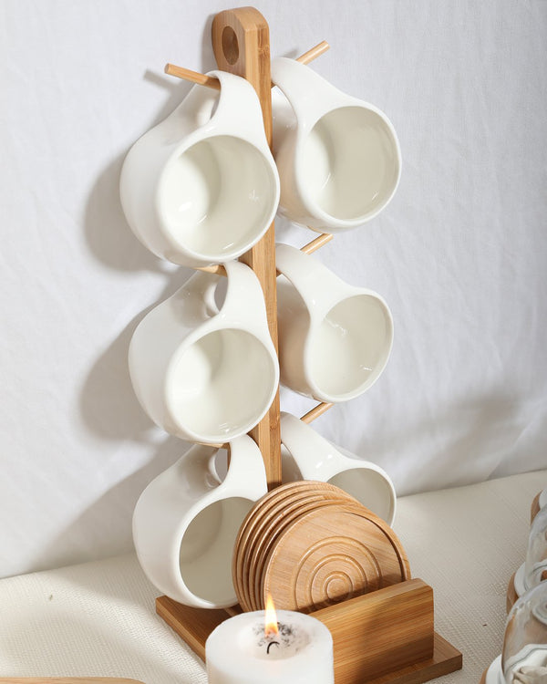 Wooden Mug Stand Set- White