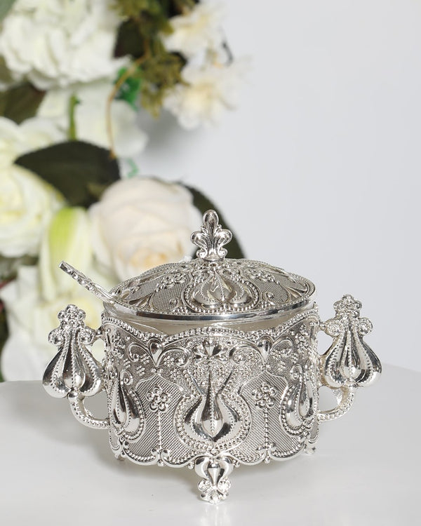Luxury Plated Sugar Bowl Set- Sliver
