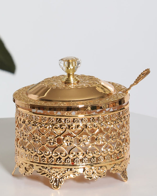Luxury Plated Sugar Bowl Set- Gold