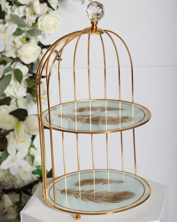 2 Tier Carriage  Stand- White/Gold