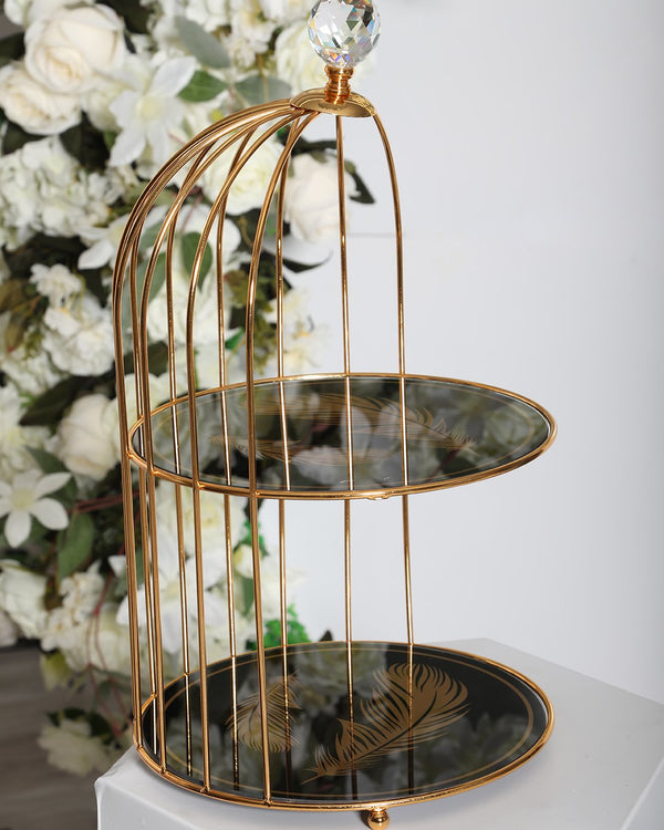 2 Tier Leaf Carriage  Stand- Black/Gold