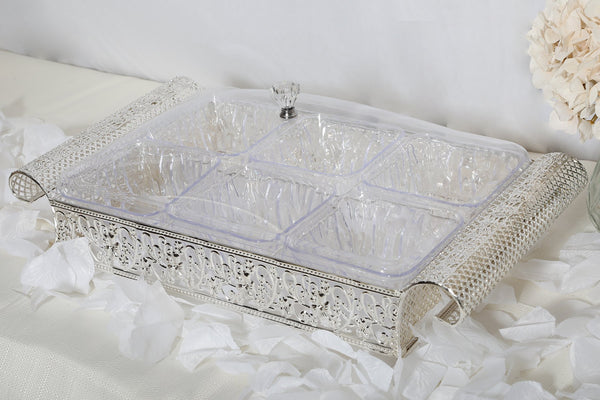 Elegant Plated Compartment Tray- Silver