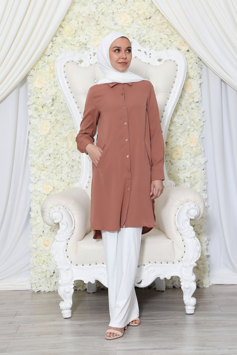 Deluxe Soft Long Blouse- Tan
