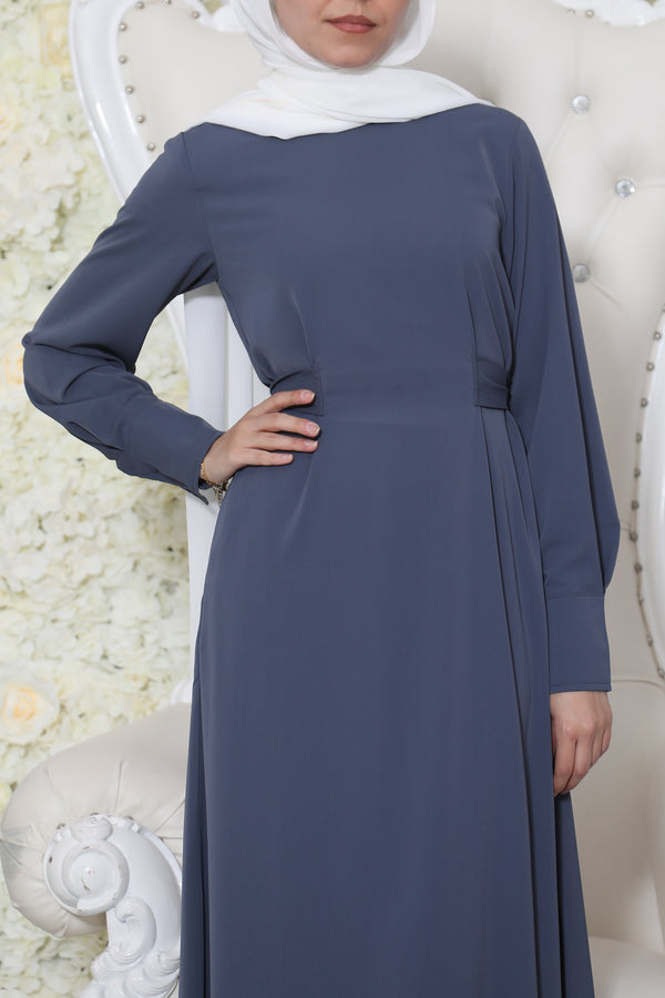 Deluxe Soft Wrap Dress- Blue Gray