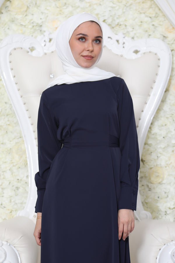 Deluxe Soft Wrap Dress- Navy Blue