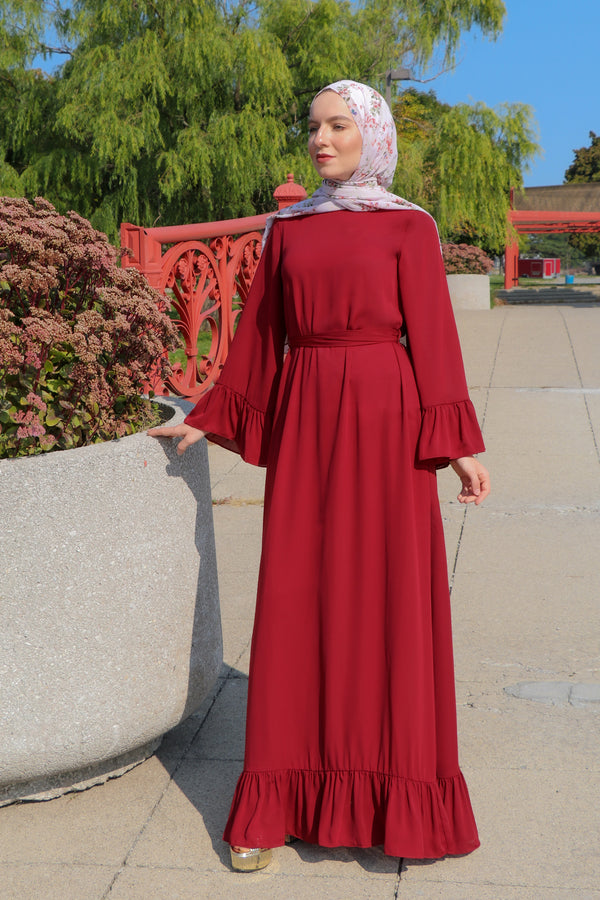 Ruffle Bell Sleeve Dress - Maroon