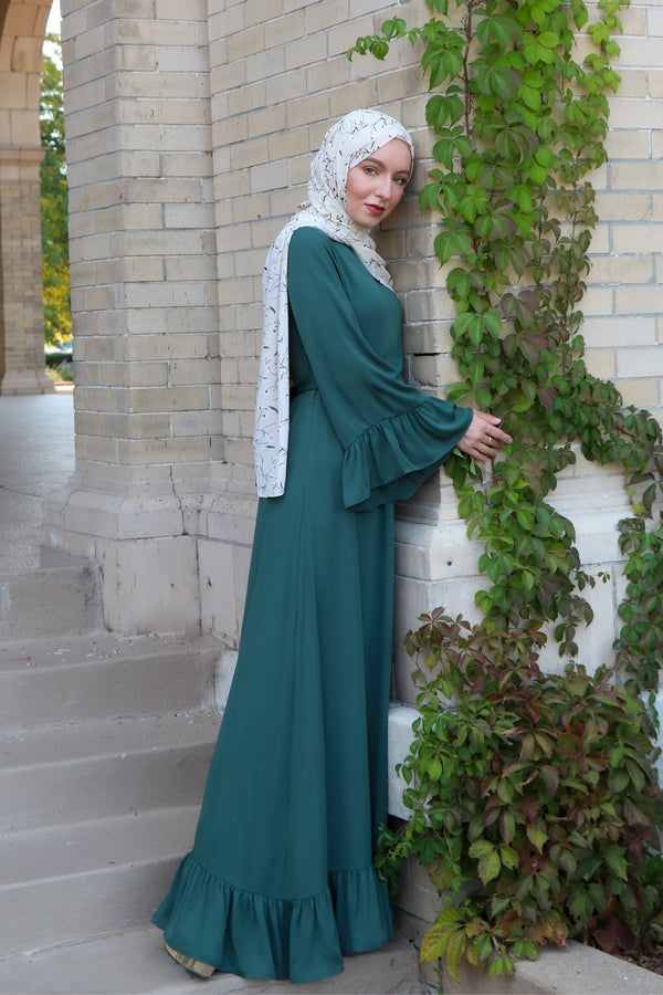 Ruffle Bell Sleeve Dress - Hunter Green