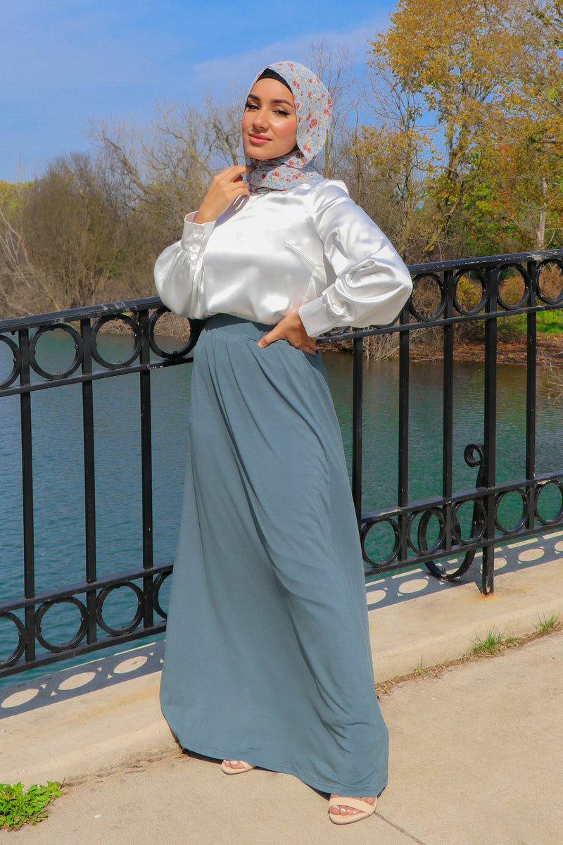 Spandex A-Line Maxi Skirt- Mint Gray