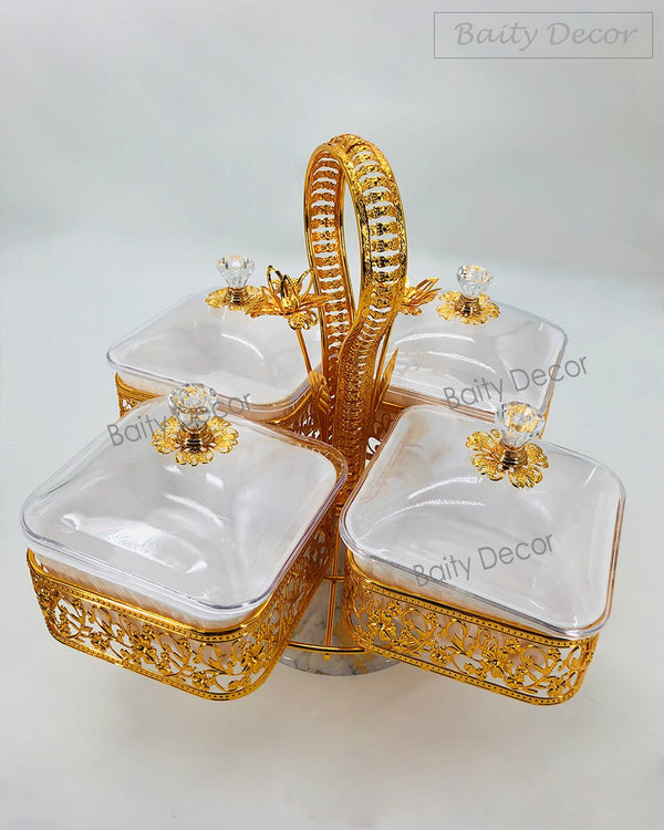 4 Compartment Gold Stand with Lids (4608256016441)