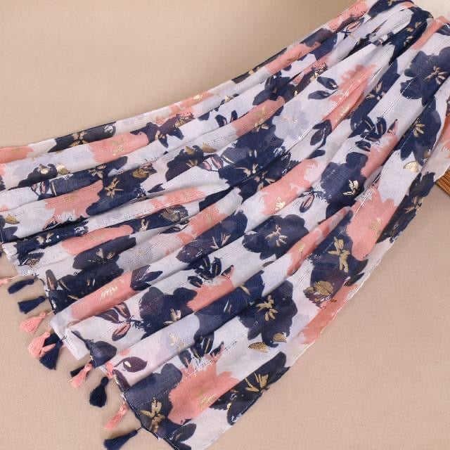 White & Navy Floral cotton scarf