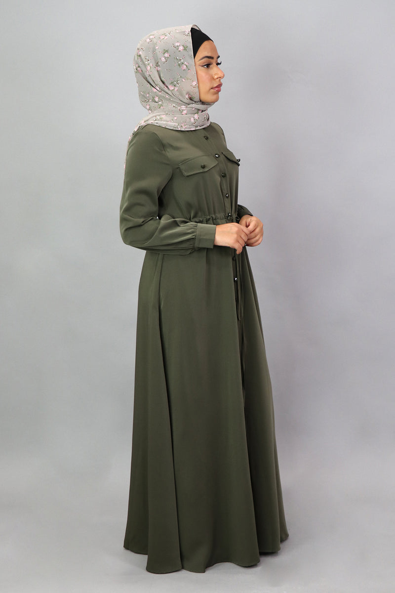 Army Green Deluxe Soft Button Down Dress (5300595130536)