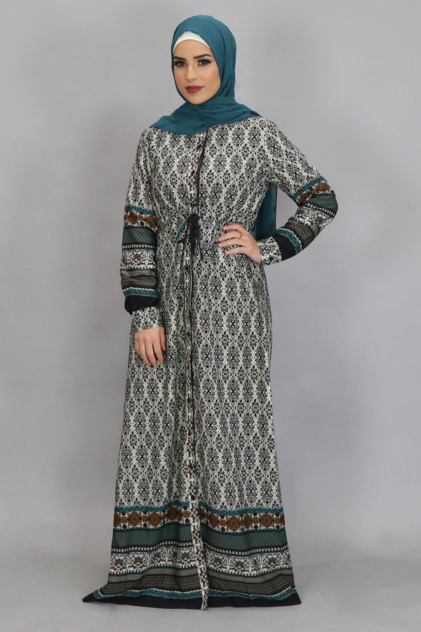 Beige Aztec Buttoned-Down Maxi Dress (4364224036921)