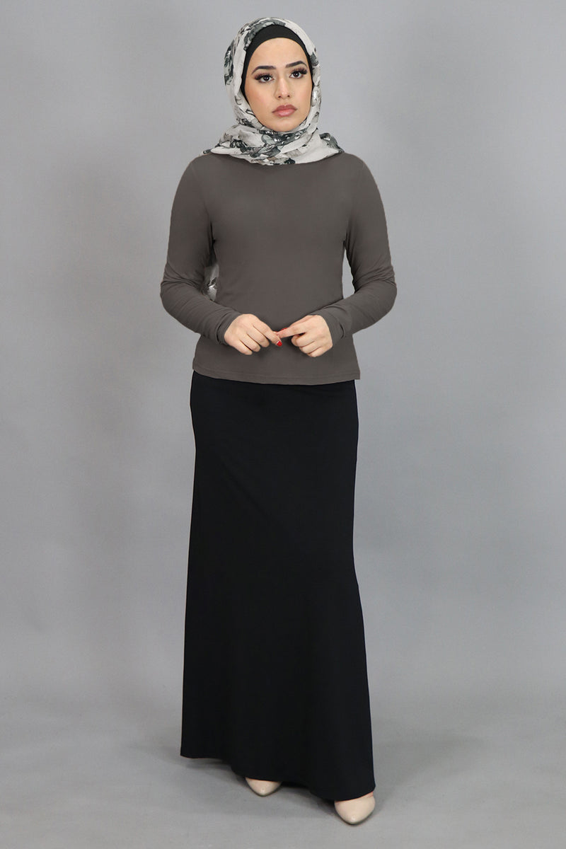 Gray Long Sleeve Top (4549427626041)