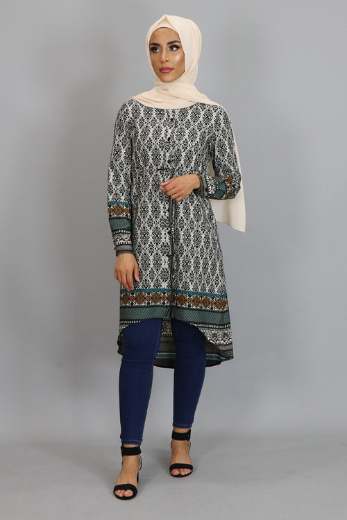 Beige Aztec Buttoned-Down Tunic Dress