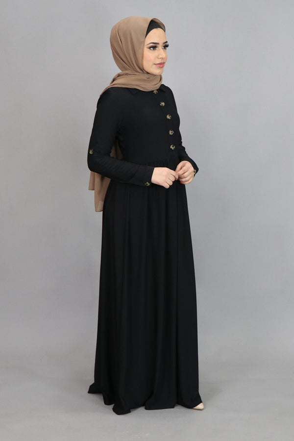 Black Button-Up Spandex Maxi Dress (4516901421113)