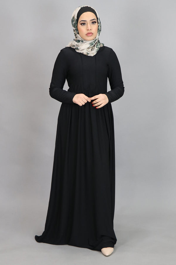 Black Spandex Outline Maxi Dress (4518158860345)