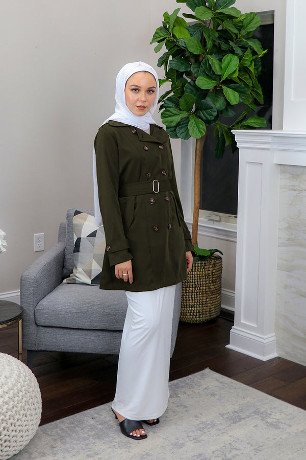 Deluxe Soft Trench Coat - Army Green