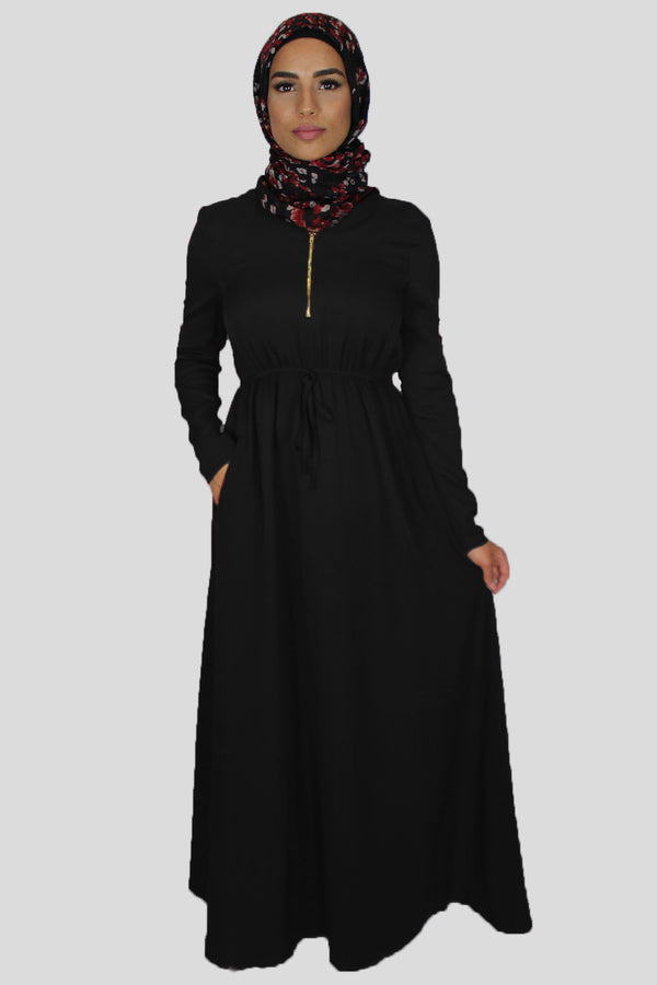 Black Alexa Hooded Maxi Dress (1395844775993)